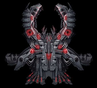 Void reaver top-down pixelart spaceship, grey and red