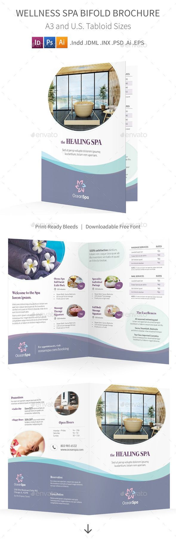 Wellness Spa Bifold  Halffold Brochure  Wellness Spa Brochure