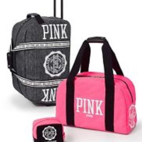 Victoria Secret Pink 3 piece Luggage Set | Bags, Travel and More ...