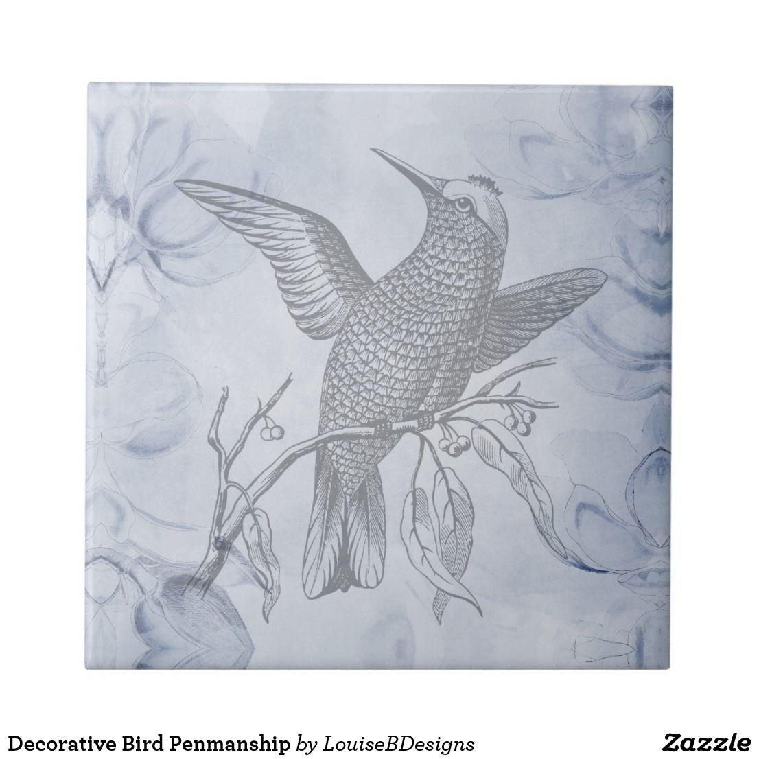 Decorative Bird Penmanship Ceramic Tile