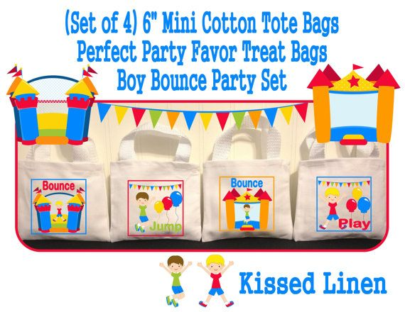 These Adorable Mini Tote Bags that measure 6 inches x 5 inches will make the perfect treat/favor bag for your Bounce Party guests. Each set of 4 bags