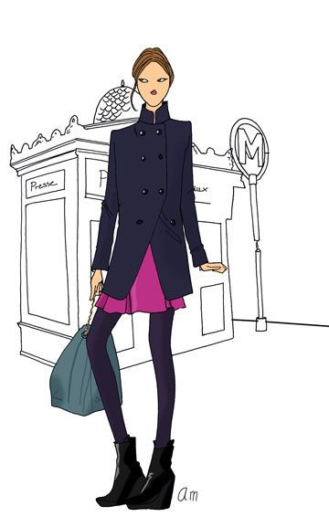 Pingl par leyla mitchell sur fashion paris - Dessin parisienne ...