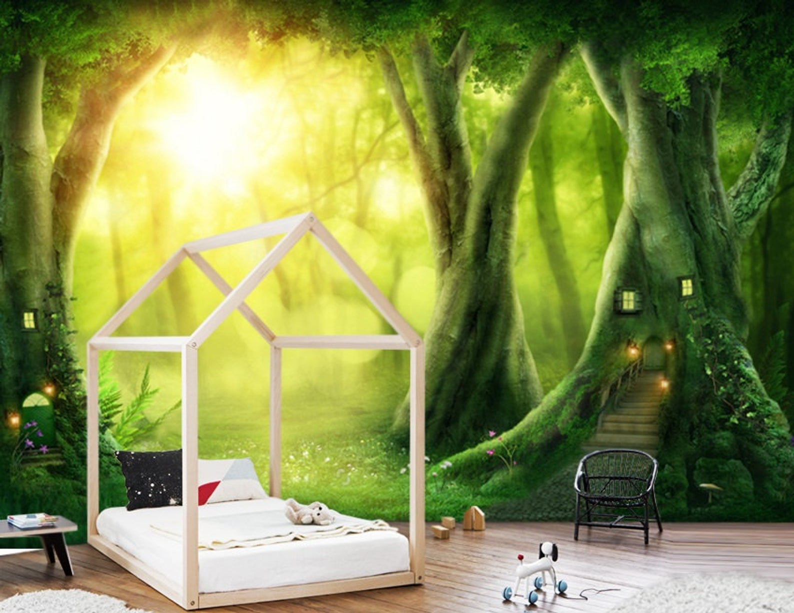 Wallpaperself Adhesivevinylmagical Forest Nurserypeel And Etsy In 2021 Forest Nursery Wallpaper Forest Wall Mural