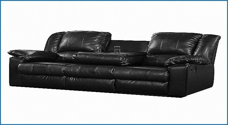 Lovely Leather Reclining Sofa With Fold Down Console Furniture