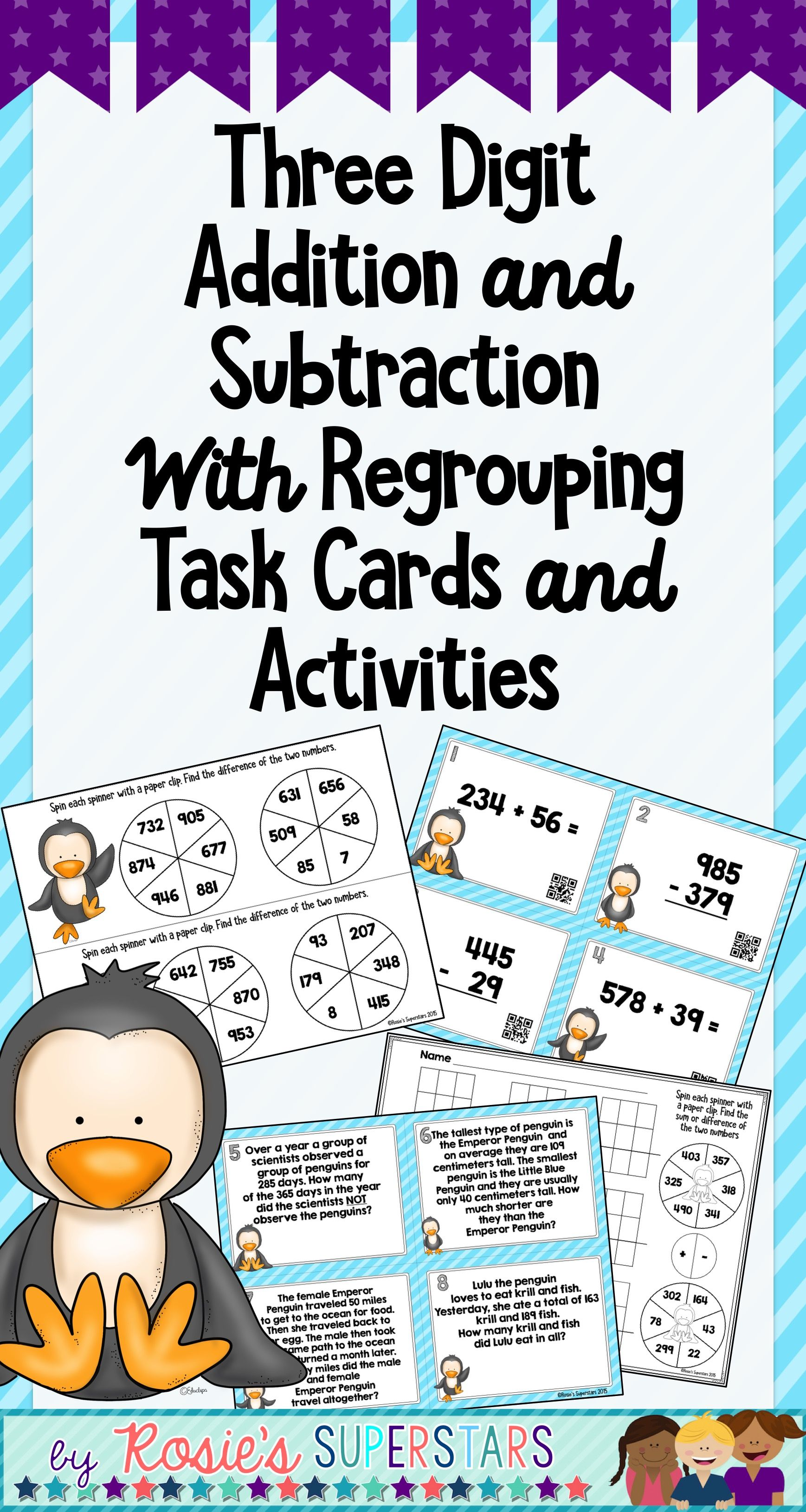 Three Digit Addition And Subtraction Task Cards And