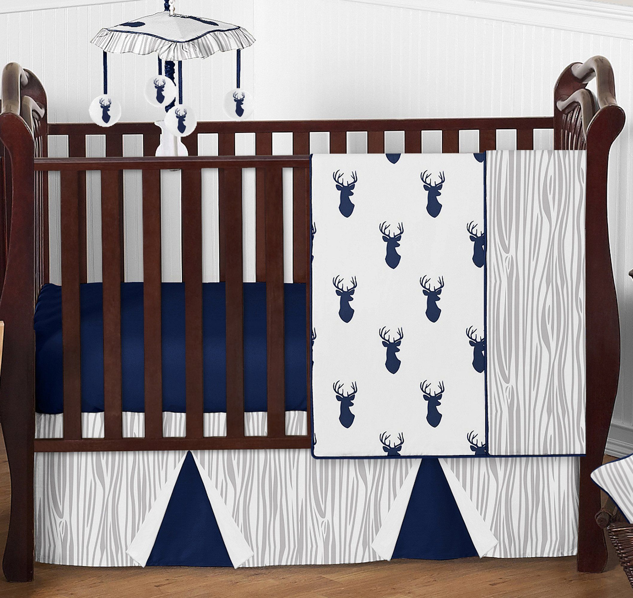 Navy Blue White and Gray Woodland Deer Print Boy Baby