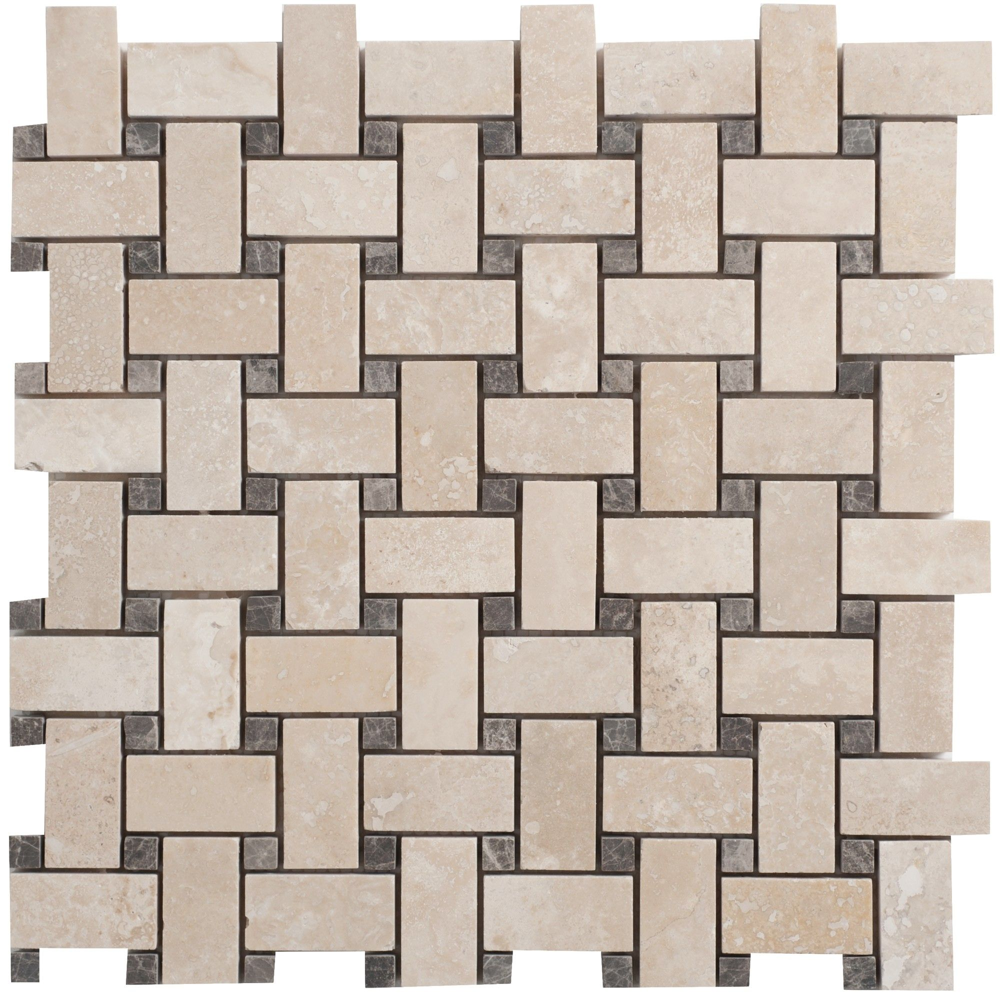 Faber Travertine Basketweave Filled And Honed Random Sized Tile In