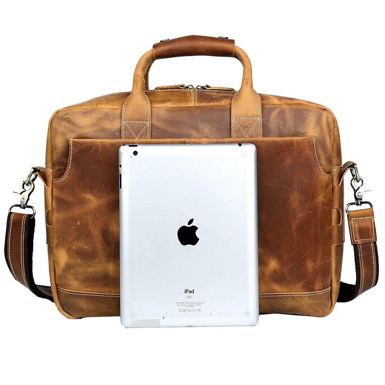1ebbfc94b5721 S-ZONE Sac Homme Vintage cuir veritable pour ordinateur portable de 17  pouces sac Messenger