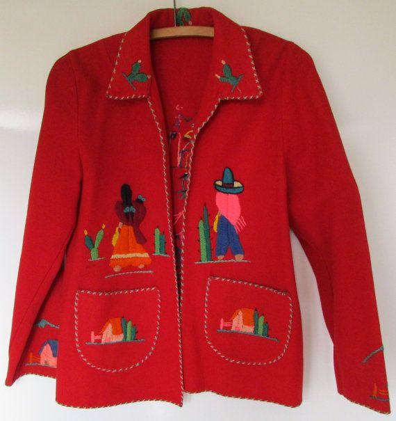 Vintage Mexico Souvenir Jacket Lilpstick Red by nanascottagehouse
