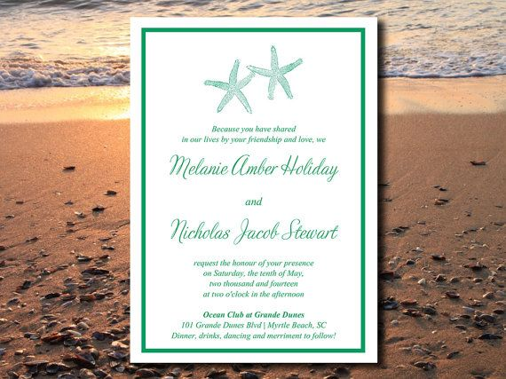 DOWNLOAD Starfish Beach Wedding Invite Microsoft Word Template
