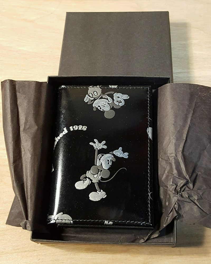 RARE NOS MICKEY MOUSE LEATHER BUSINESS CARD HOLDER Wallet ~ Disney ...