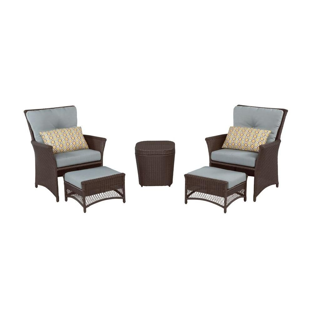 Hampton bay blue hill 5 piece patio conversation set with blue green cushions s140071 02 58t the home depot