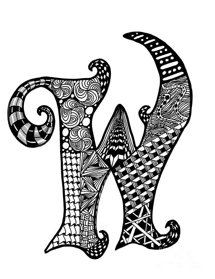Zentangle Letter W Monogram Drawing