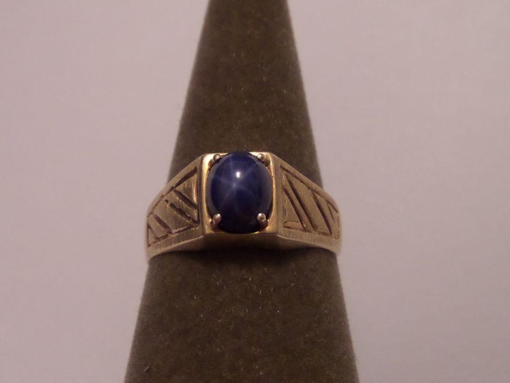Tru Glo Vintage Men S 10k Yellow Gold Star Blue Sapphire Ring Size 12 1 4 Truglo Blue Star Sapphire Ring Star Sapphire Ring Blue Star Sapphire