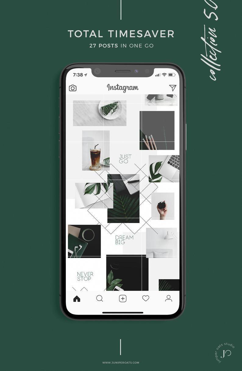 Emerald Instagram Puzzle Template For Photoshop Video Etsy In 2020 Photoshop Video Tutorials Instagram Layout Photoshop Tutorial Design