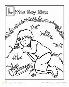 Little Boy Blue Coloring Page Nursery Rhymes Preschool Nursery