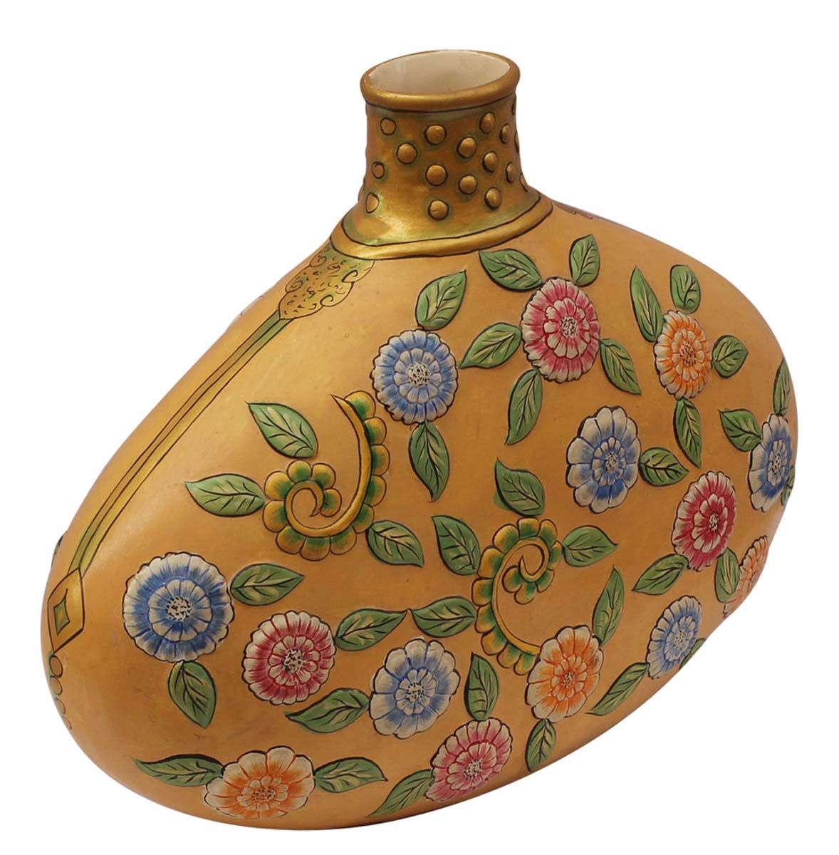 Bulk wholesale handmade 18 big yellow flower vase pot in decorative ceramic yellow flower vase in bulk wholesale hand painted flower vase in bright colorful floral motifs from suppliers in india mantel reviewsmspy