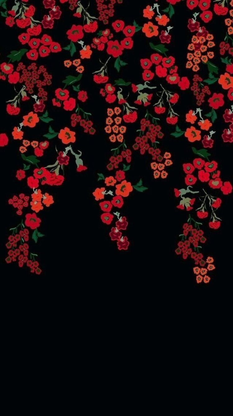 Pin By Chelsea Webber On Mix Red Black Floral Wallpaper Iphone Black Flowers Wallpaper Wallpaper Iphone Christmas
