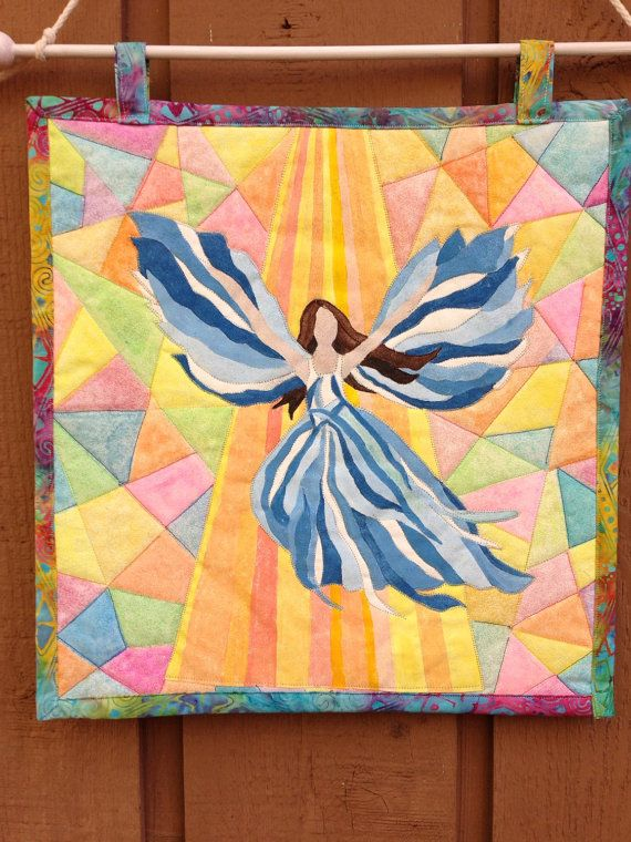 Quilted Wall Hanging, Quilted Angel, Fiber Art, Angel, Handpainted ...