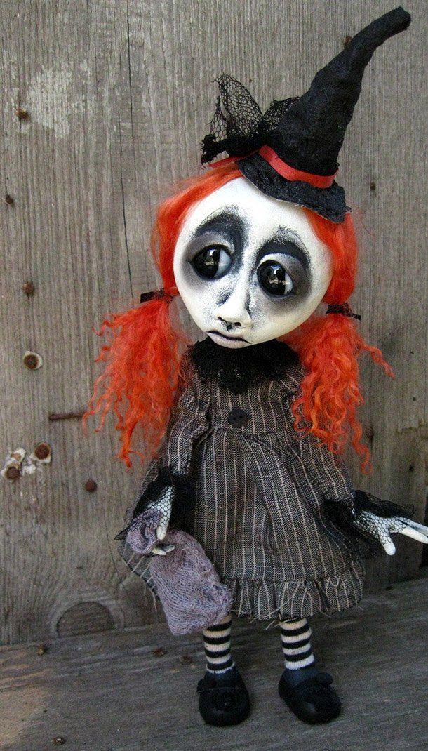 Etsy Wednesday Creepy Cool Halloween Ornaments artdolls - cool halloween ideas