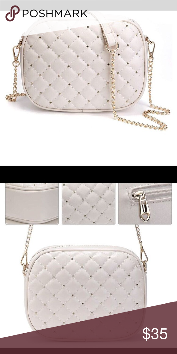 White Studded Quilted Crossbody Bag Quilted Crossbody Bag Bags Crossbody Bag