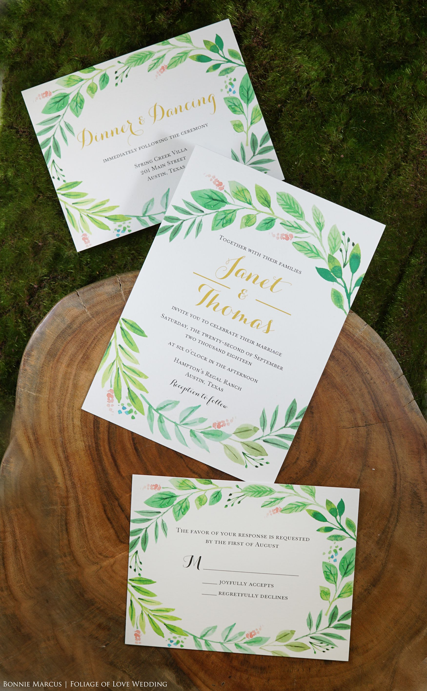 Foliage Of Love Wedding Invitation Invitation Suite Invitation