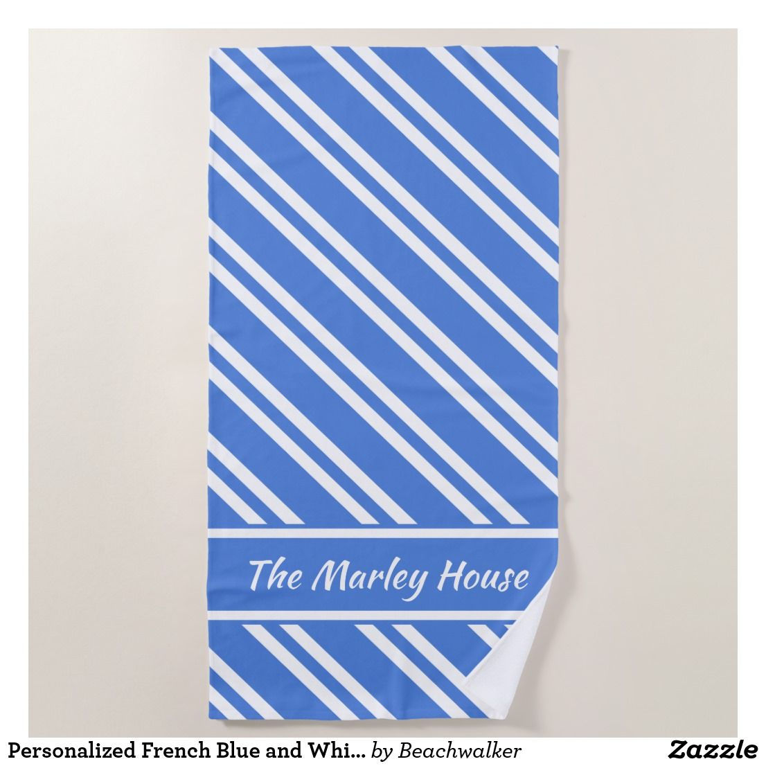 Personalized French Blue And White Stripes Beach Towel Zazzle