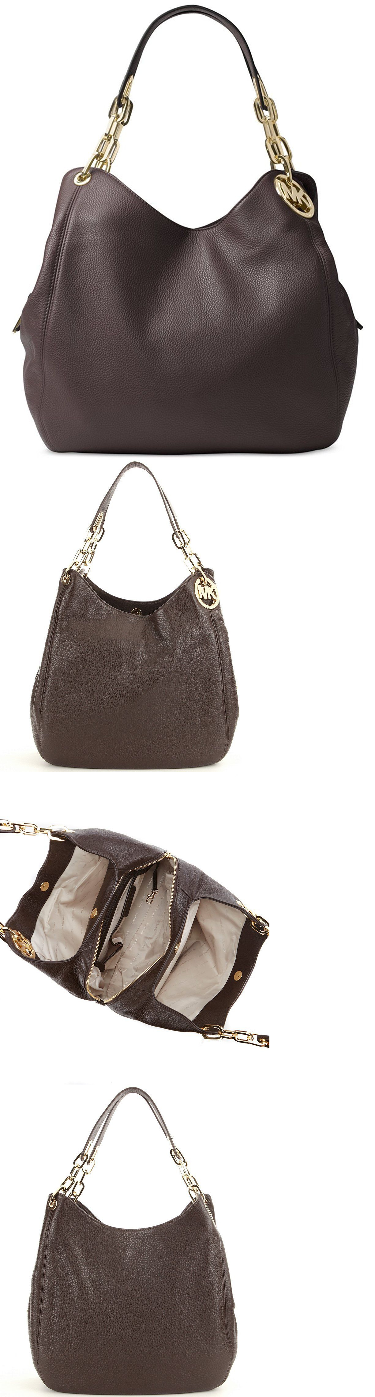 01b5f82b4376f9 Handbags and Purses 63852: Michael Kors Fulton Pebbled Leather Large  Shoulder Tote Bag (Coffee) -> BUY IT NOW ONLY: $299.99 on eBay!