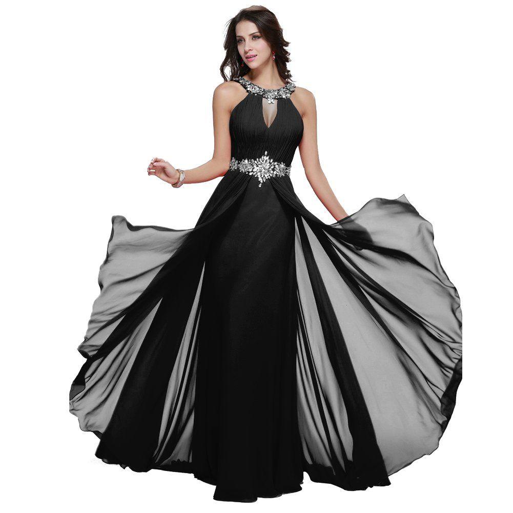 Womenus girls long chiffon halter neck prom dress beaded straps