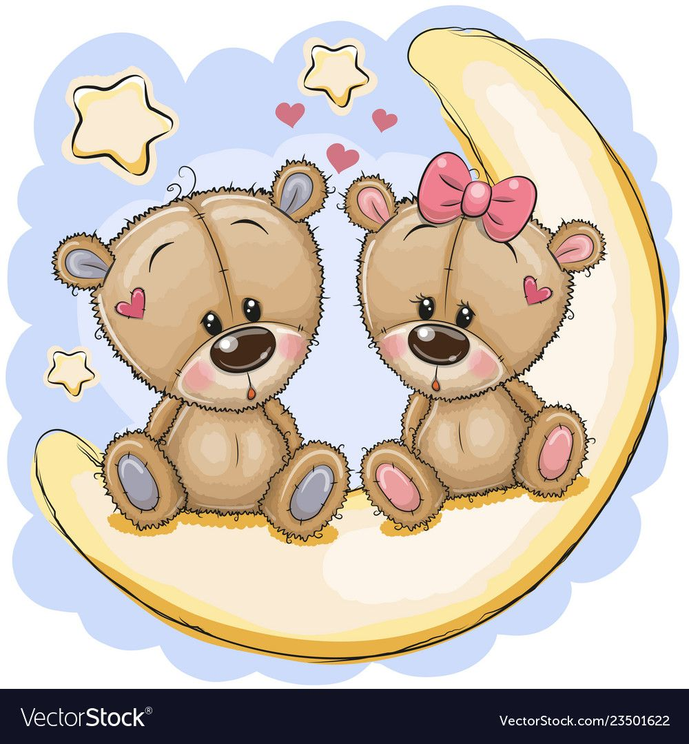 Two Cute Cartoon Bears Is Sitting On The Moon Download A Free Preview Or High Quality Adobe Illustrator Teddy Bear Drawing Kids Cartoon Characters Tatty Teddy