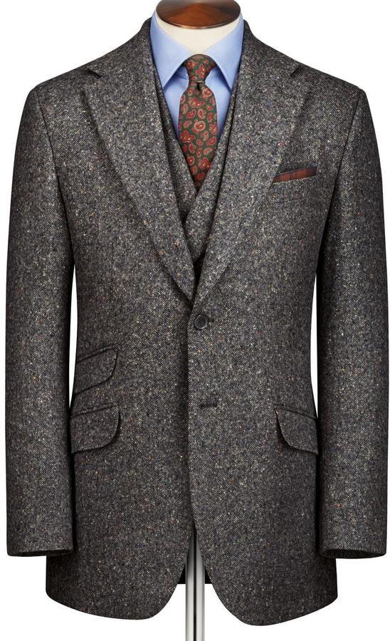 Grey Donegal Tweed Slim Fit Suit Gentleman S Fashion