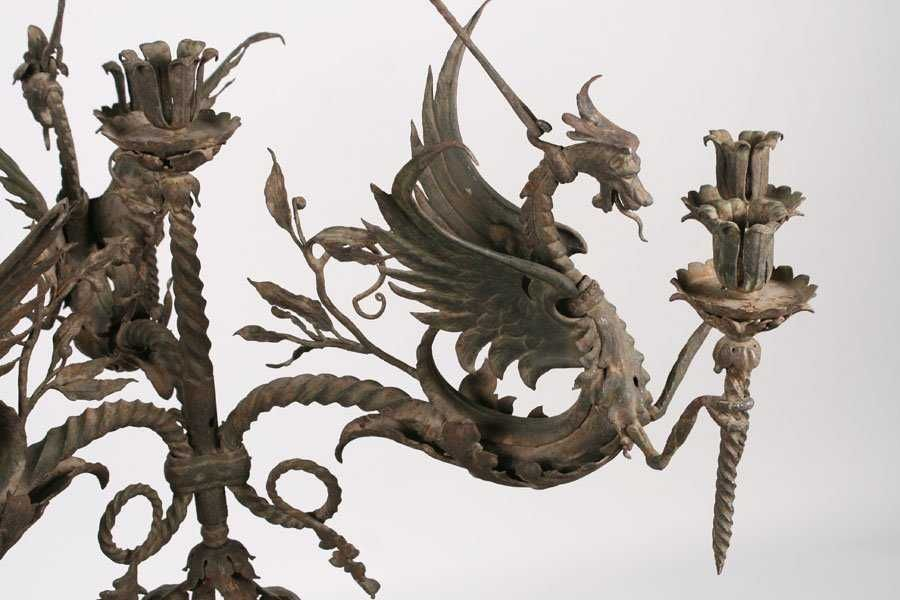 Wrought Iron 3 Arm Dragon Theme Chandelier C 1900 2 Wrought Iron Chandelier Acanthus Leaf
