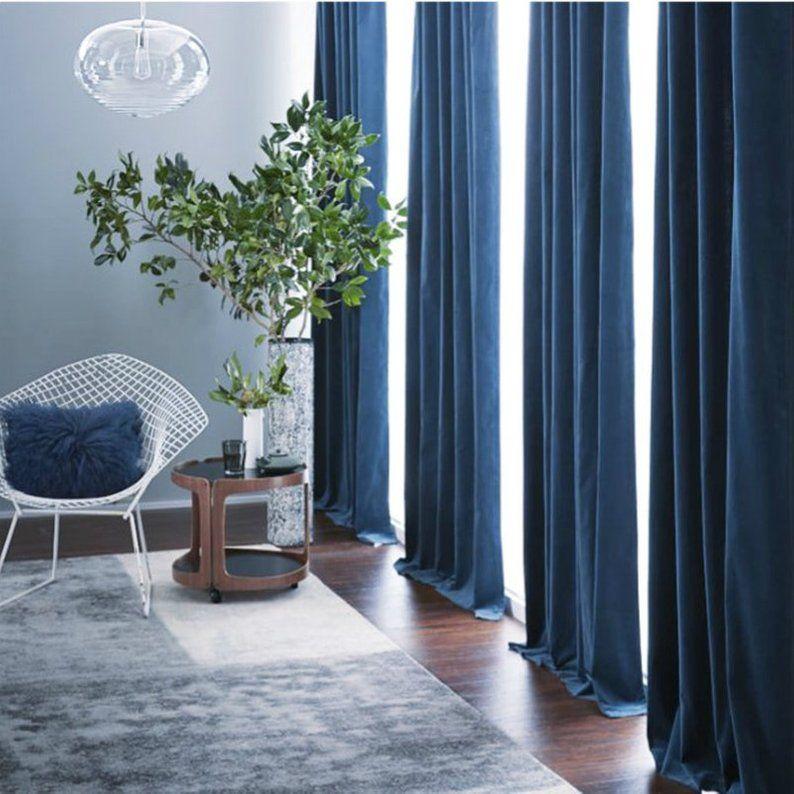 Pair Of Navy Blue Velvet Curtains Bedroom Velvet Curtains Etsy Blue Curtains Living Room Velvet Curtains Living Room Blue Curtains Bedroom