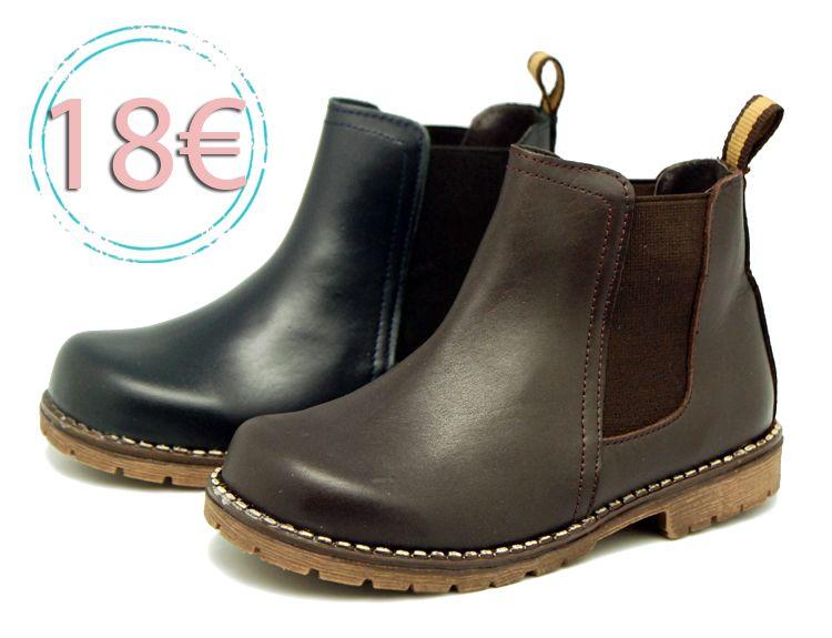 Tienda online de calzado infantil Okaaspain. Botín de piel con elástico. Calidad al mejor precio hecho en España.