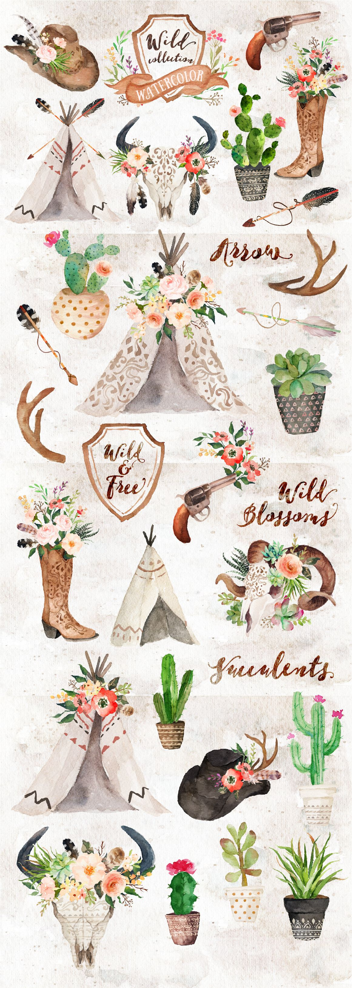 Watercolor Wild West Collection By Graphic Box On