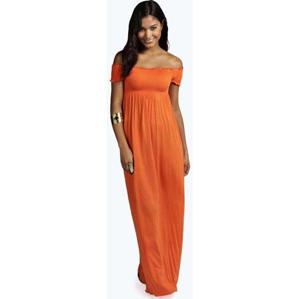 Orange Strapless Maxi Dress