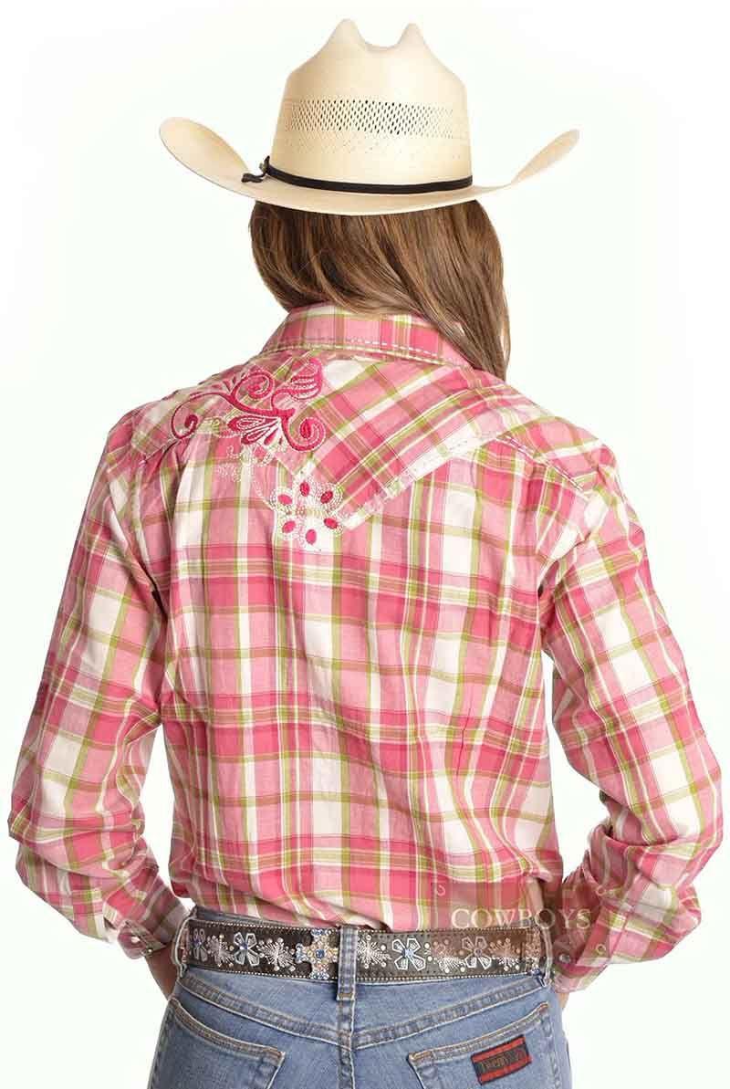 386edf14c0 Camisa Feminina Xadrez Verde e Rosa Camisa feminina manga longa xadrez nas  cores rosa e verde