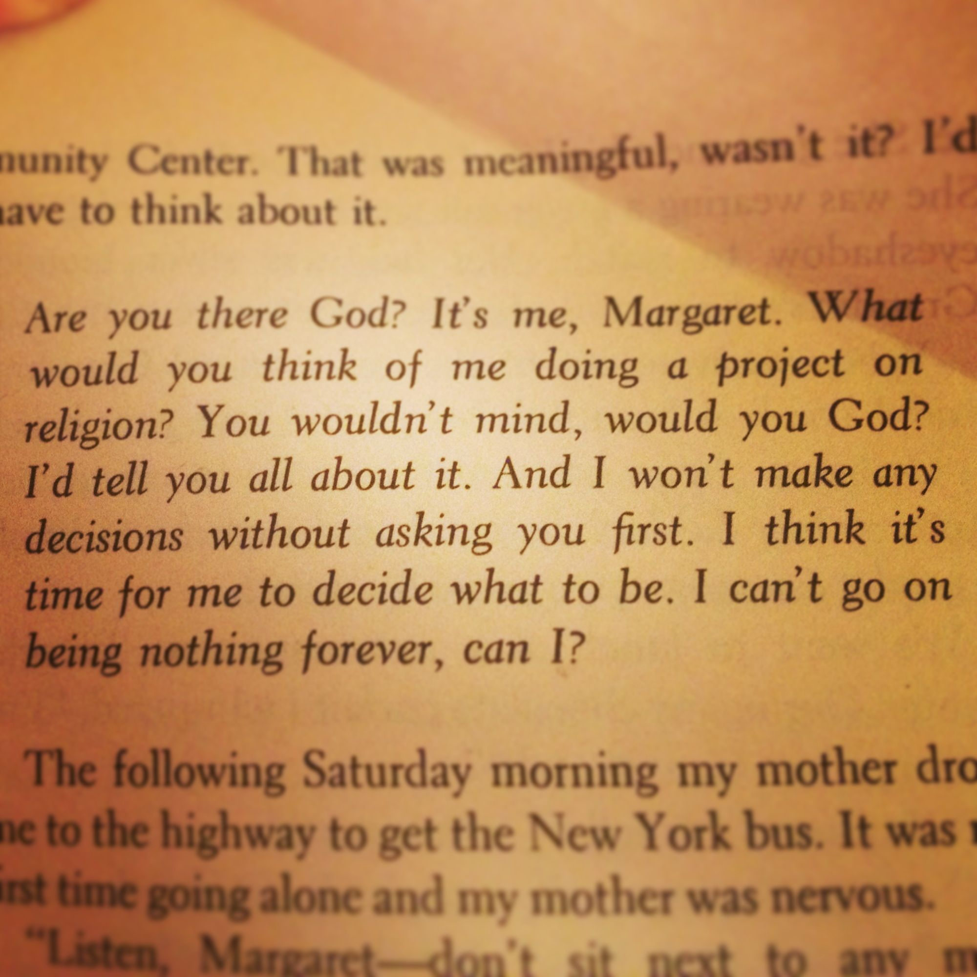 Awesome Quote From Judy Blumes Book Are You There God Its Me