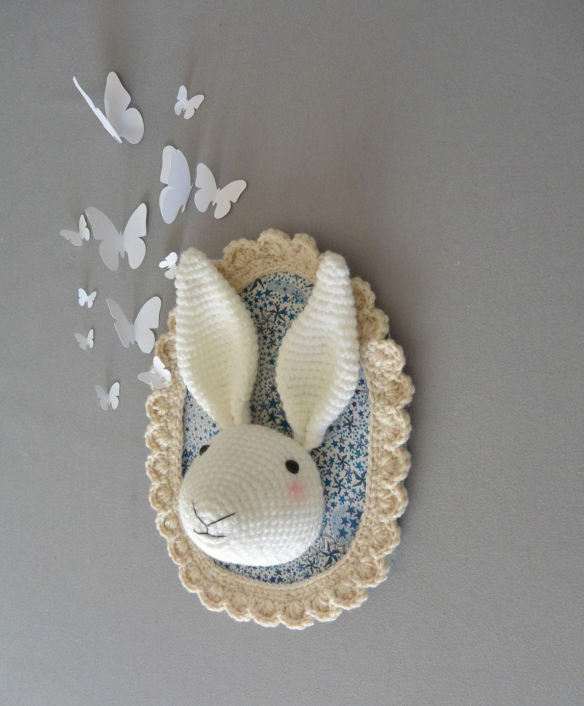 troph e lapin liberty au crochet d corations murales par ligne retro troph e animaux. Black Bedroom Furniture Sets. Home Design Ideas