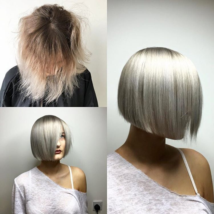 Silver Platinum Hair Goals by @richardshairgw.   He lifted the middle band first with Wella Blondor and Olaplex then did the roots and middle band. Afterwards, he went in with 20g9/16 20g10/81 and 10g7/89 Wella Colour Touch. Always follow with a generous No. 2 treatment! #olaplex #silverhair #modernsalon #hairlove #platinumhair #blonde