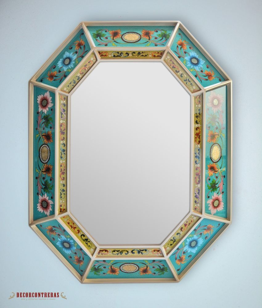 SAVE Large Decorative Wall Mirror Navy Floral