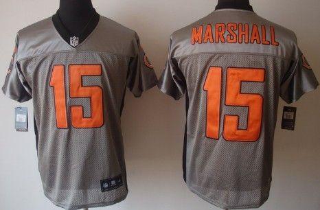 nike chicago bears 15 brandon marshall gray shadow elite jersey