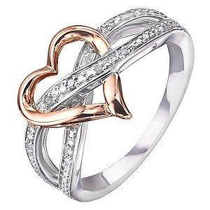 Sterling Silver 9ct Rose Gold Heart Diamond Eternity Ring H Samuel The Jeweller Eternity Ring Diamond Diamond Eternity Eternity Ring