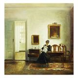 A Woman Sewing in an Interior Giclee Print by Carl Holsoe