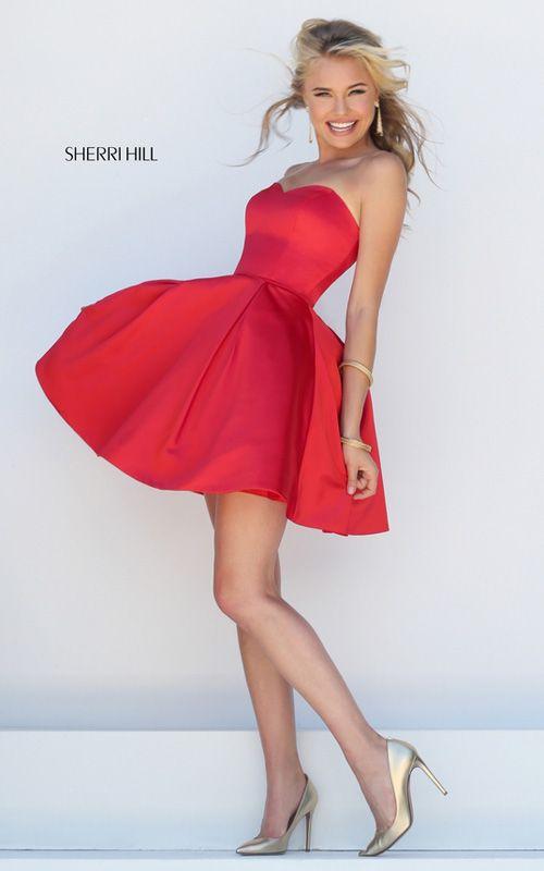 Short Satin Red Sherri Hill 50228 A Line Sweetheart Prom Dress | Short  dresses | Pinterest | Sweetheart prom dress, Prom and Satin