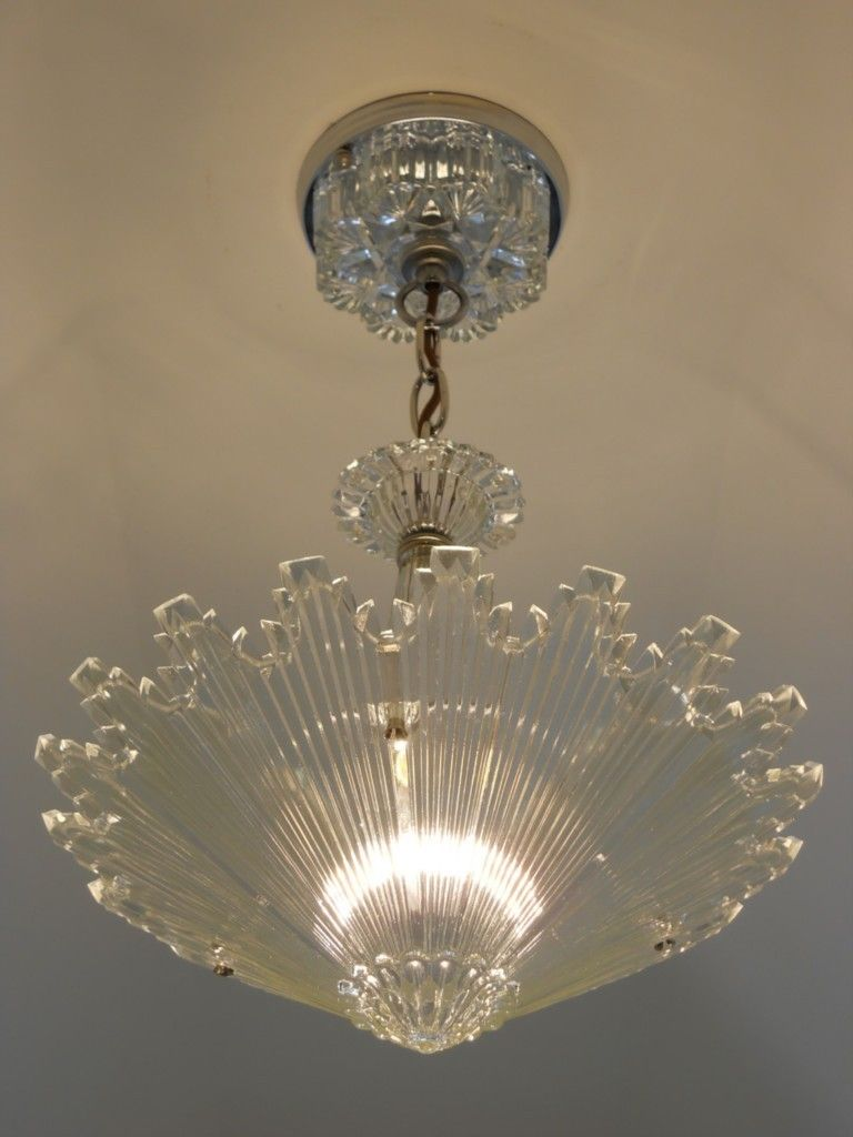 C.30\'s Vintage Art Deco Ceiling light fixture Chandelier American ...