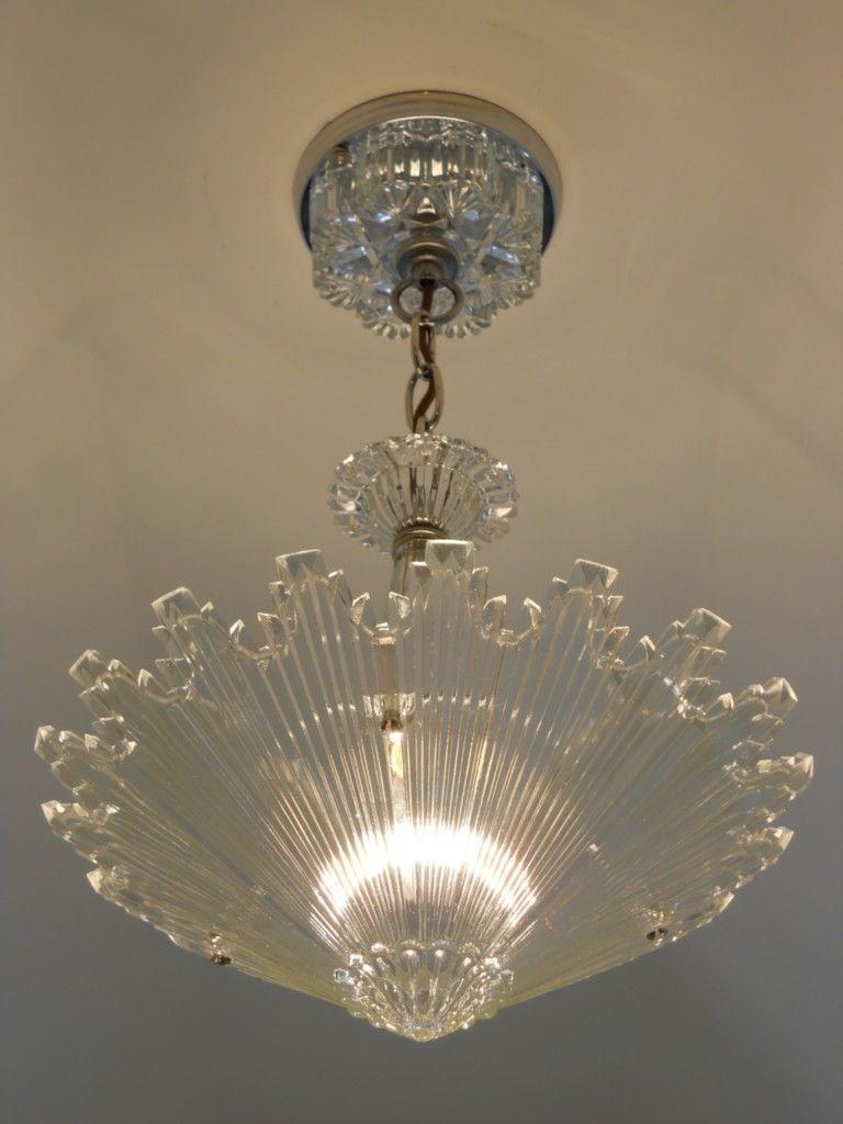 C 30 S Vintage Art Deco Ceiling Light Fixture Chandelier American