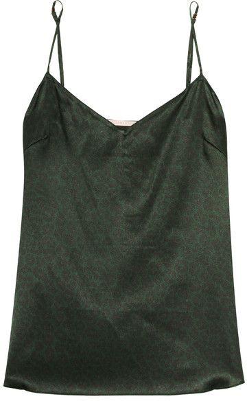 Stella McCartney - Ellie Leaping Leopard-print Stretch-silk Camisole - Dark  green 075d24fc4