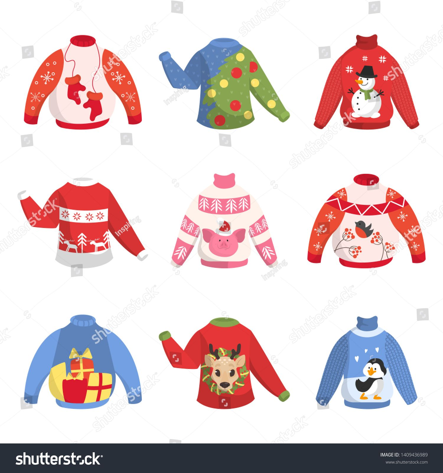 Cute warm christmas sweater for winter weather set