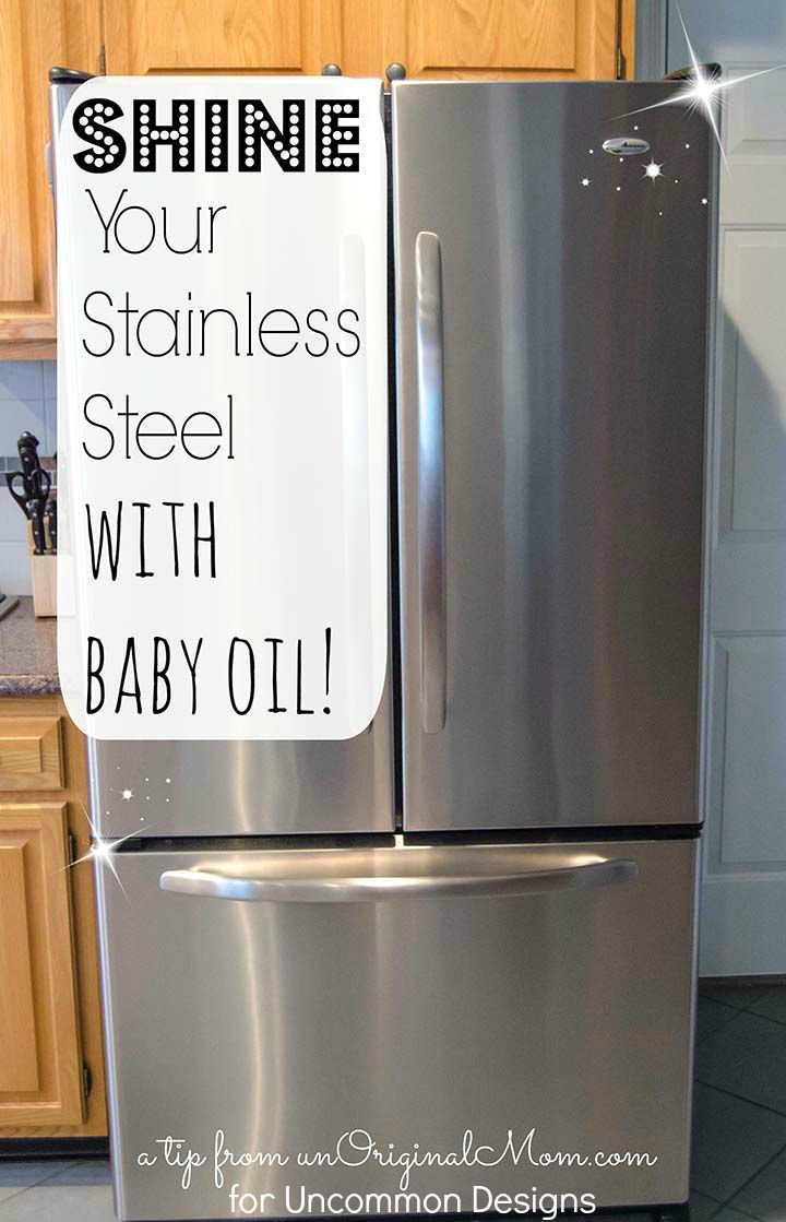 How To Clean Stainless Steel Appliances With Baby Oil Cleaning Stainless Steel Appliances Cleaning Hacks Stainless Steel Cleaning